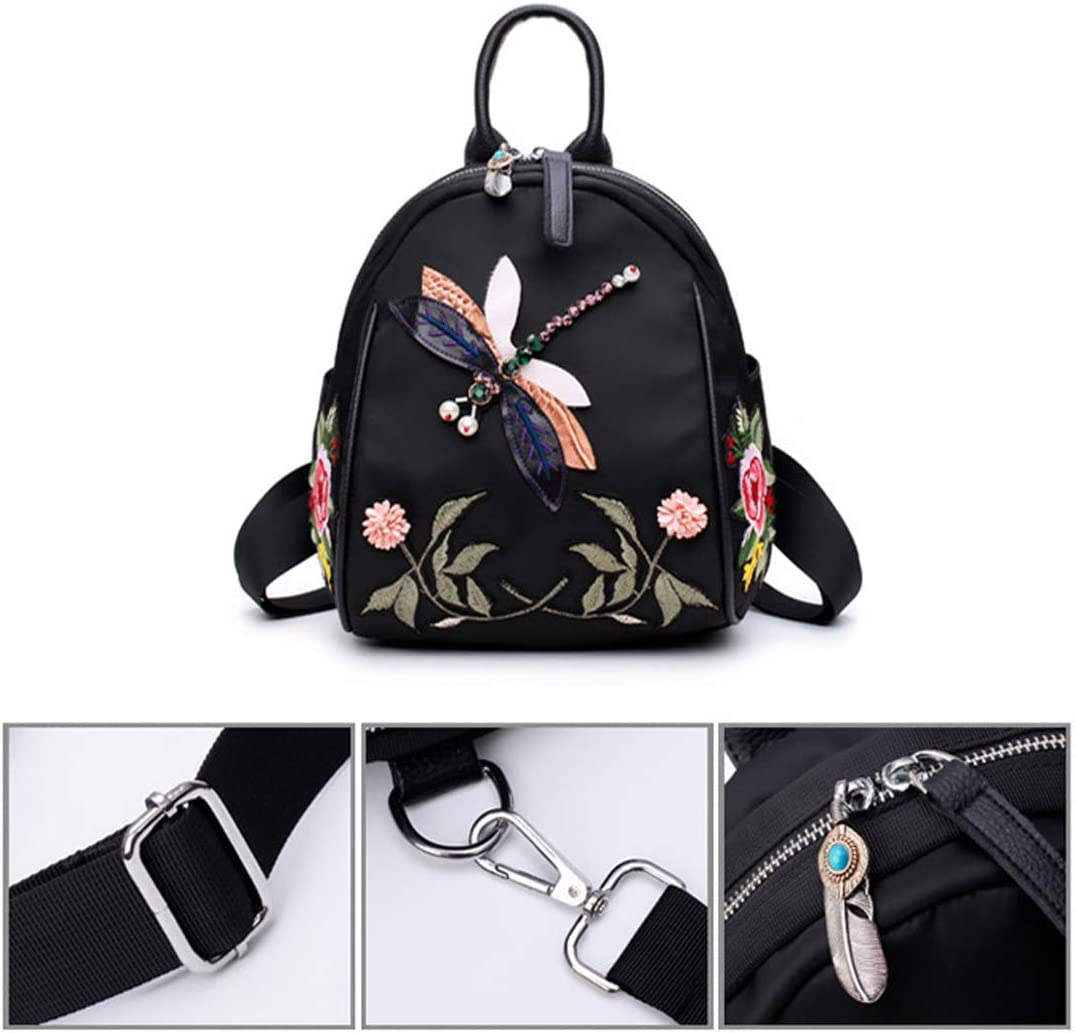 Work Chinese Embroidery. Outdoor School Haoyushangmao The Girls Versatile Backpack is Perfect for Everyday Travel Fashion and Leisure Travel Color : Black, Size : 21cm26cm16cm Black
