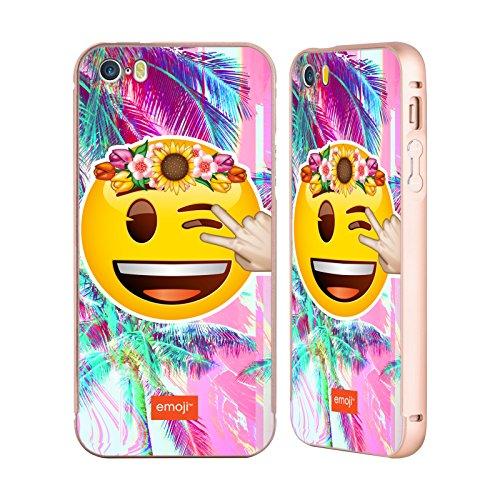 Officiel Emoji Cligner De L'Oeil Solos Or Étui Coque Aluminium Bumper Slider pour Apple iPhone 5 / 5s / SE