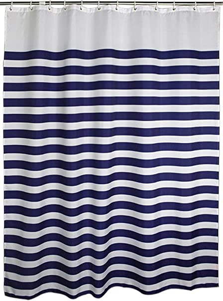 Welwo Shower Curtains Nautical Stripes Striped Curtain Set Horizontal 108 X 78
