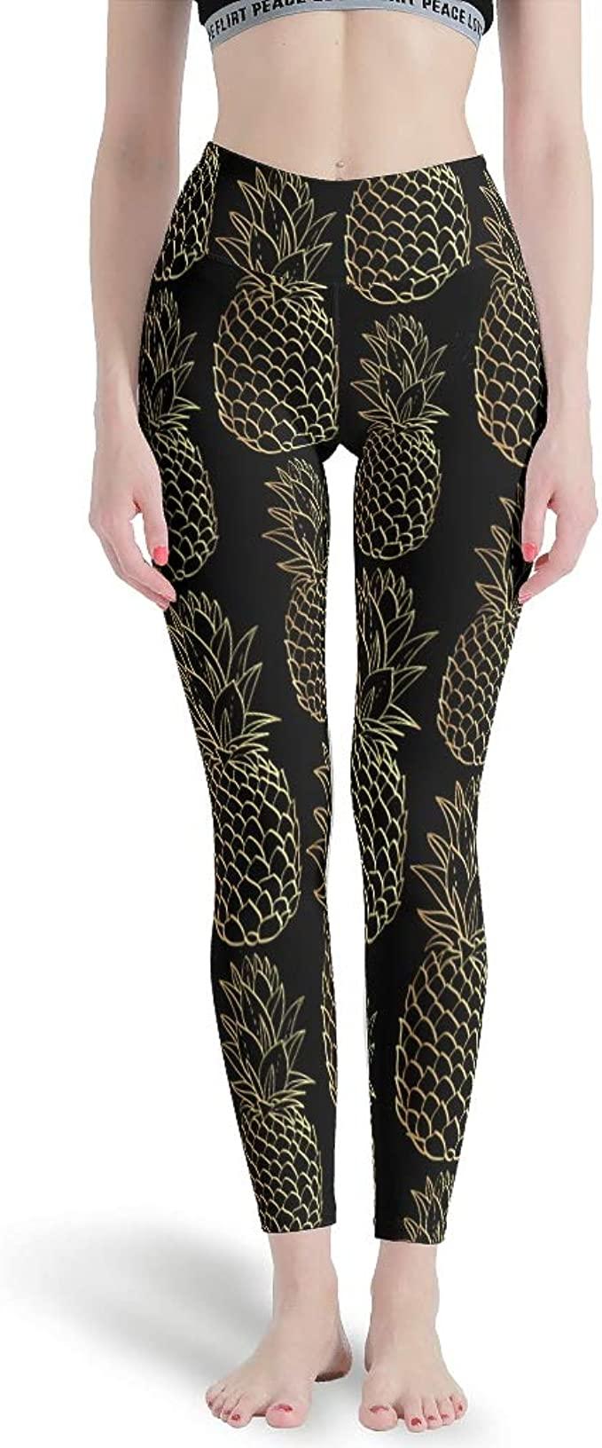 Women/'s Pineapple Printed Leggings Buttery Soft Peach Skin One Size 0-12