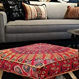 Indian Daybed Big Seating Peacock Mandala Floor Pillow Cover Pouf Cushion  Case Bohemian Ottoman Meditation Throw Large By Krati Exports (Red)