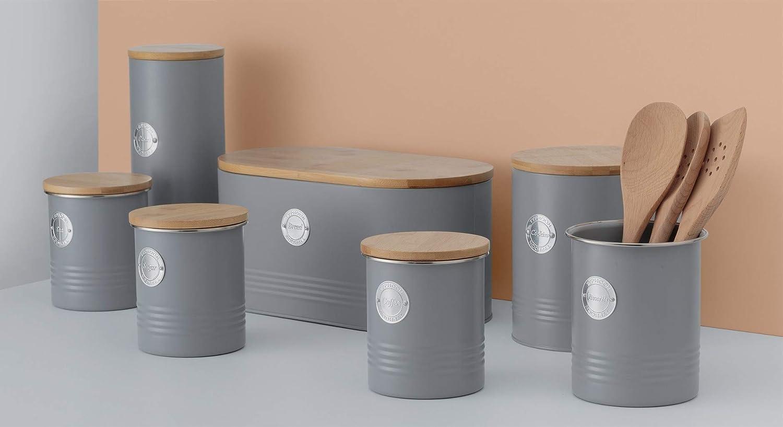 1 litro Color Gris Tarro herm/ético para t/é con Tapa de bamb/ú Typhoon Living