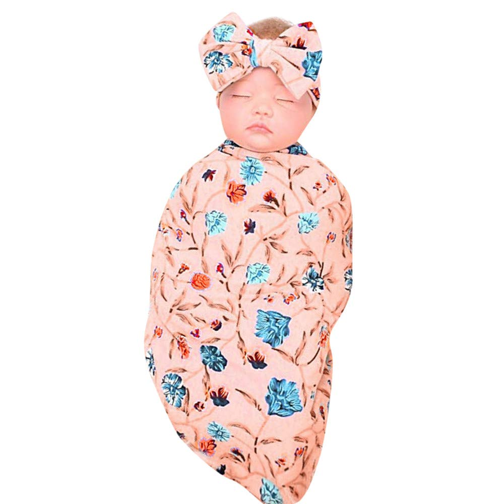 Geetobby Newborn Receiving Blanket Headband Set Flower Print Baby Sleeping Wrap Grace Toby