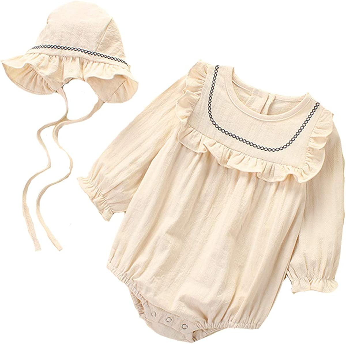 Infant Baby Girls Ruffle Long Sleeve Romper Tops Shirt Jumpsuit Cotton Clothes Hat