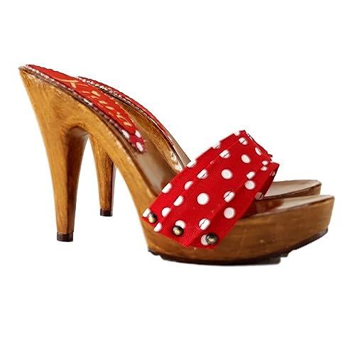 les ventes chaudes prix pas cher grandes marques kiara shoes Sabot Rouge Pois Femme Italienne Talon 11-K21101 ...