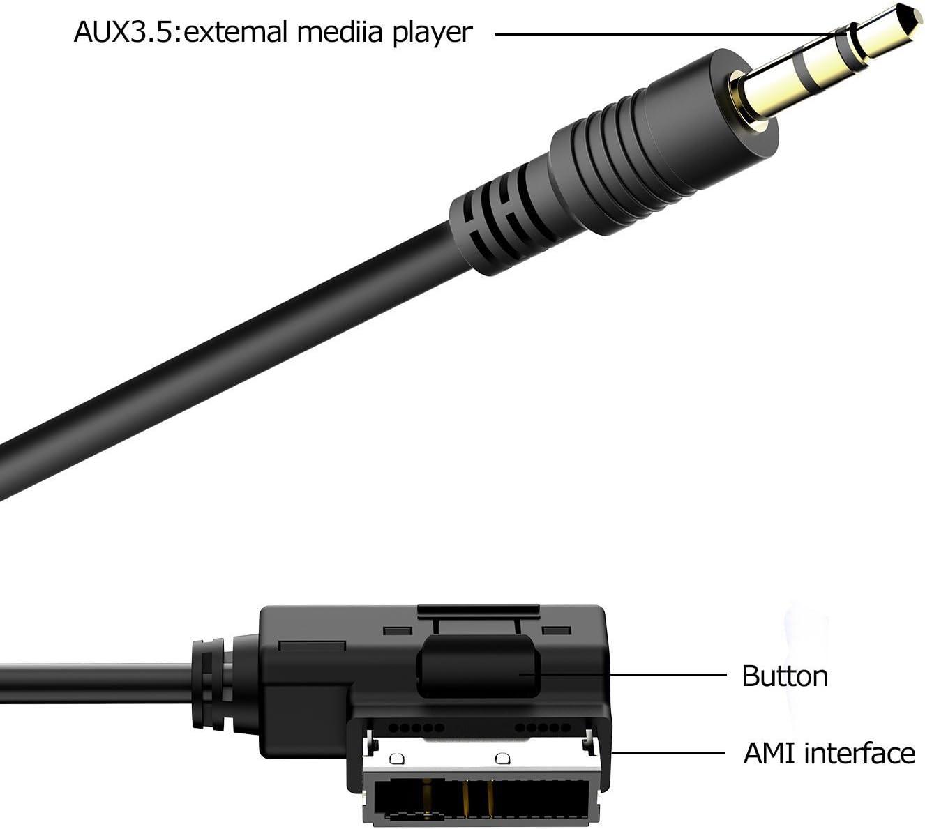 AMI 3.5 USB F SINLOON Car Media AMI MDI to Stereo 3.5mm Audio USB Female AUX Adapter Cable to Audi A3 A4 A5 A6 S5 A6 A8 Q7 S4 S8 TT//VW Jetta GTI GLI Jetta Passat Cc Tiguan Touareg EOS