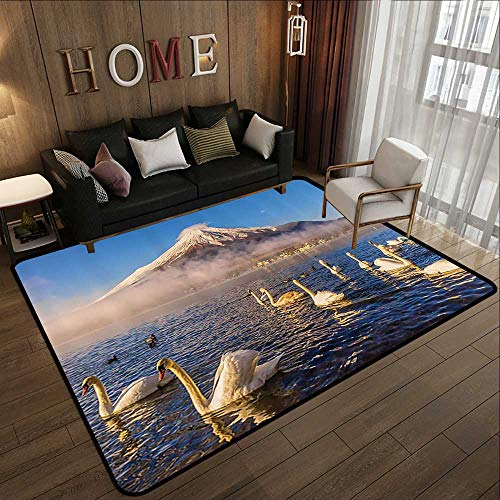 Bath Rugs,Cottage Decor Collection,Mount Fuji Reflected in Lake Yamanaka at Dawn Japan Several Swans are Resting on Lake View,Whit 55