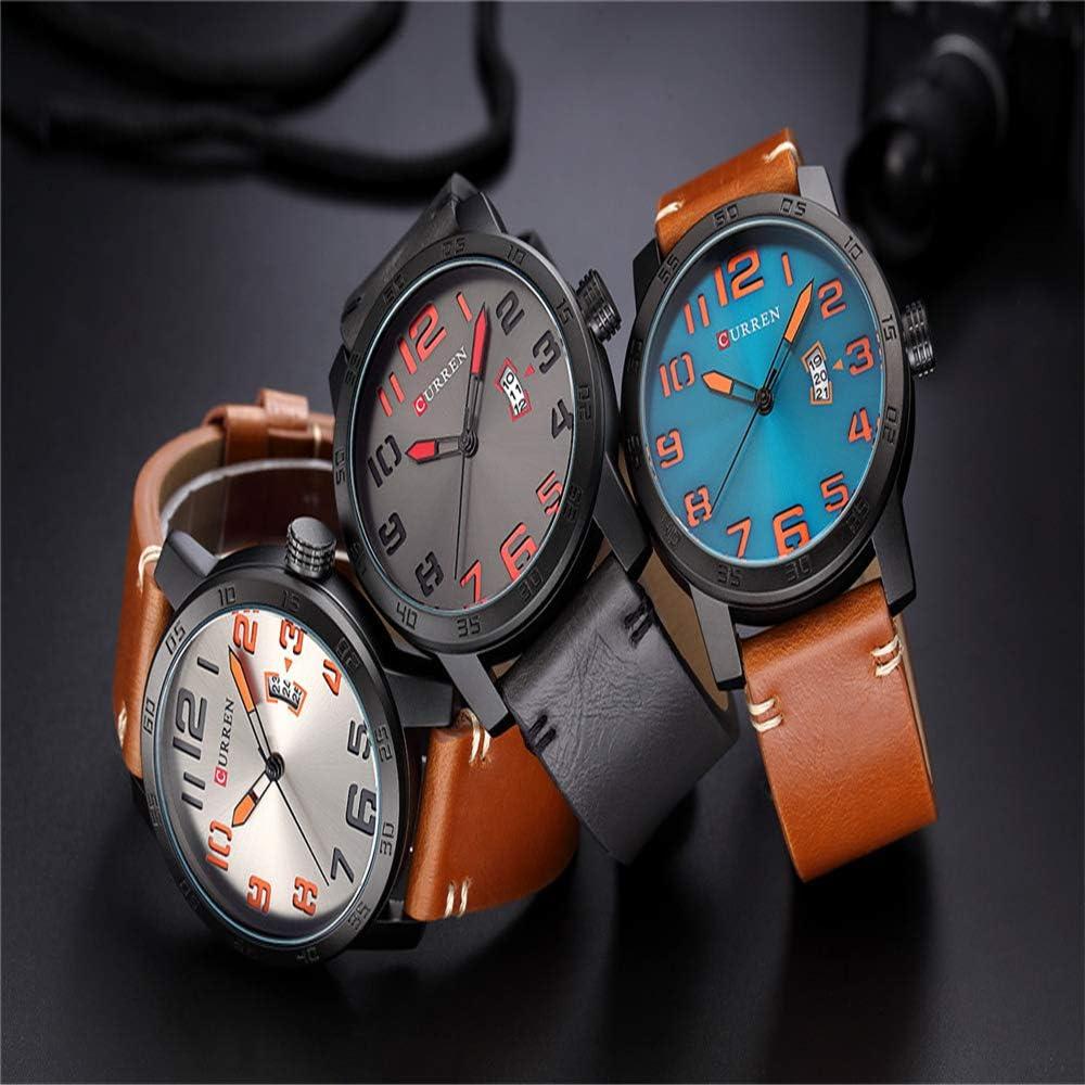 Orologio sportivo da uomo orologio da uomo cinturino in pelle creativo orologio da uomo moda tendenza orologio orologio al quarzo orologio da polso impermeabile con data Marrone2