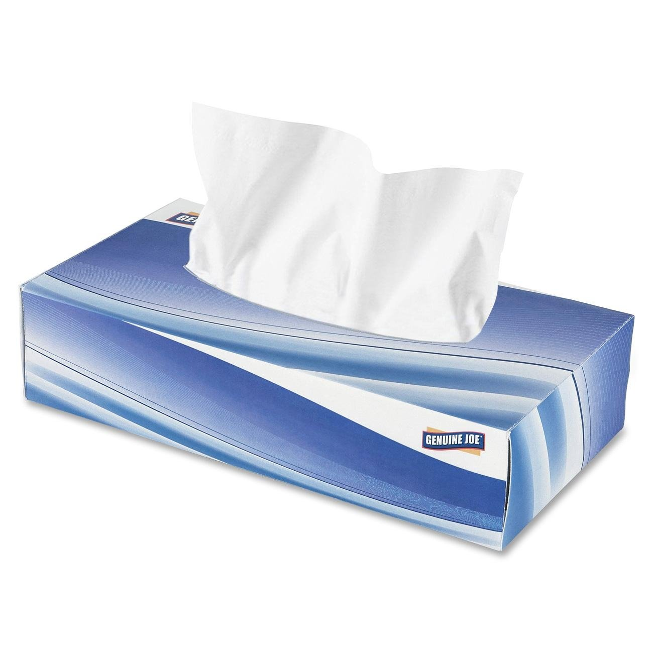 Genuine Joe GJO26100 Poly 2-Ply Facial Tissue, White (Case of 30 Boxes, 100 sheets per Box)