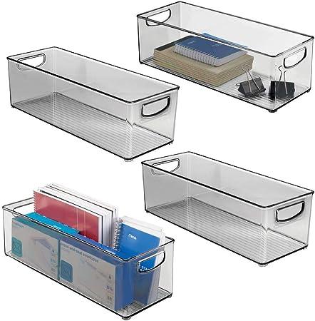 mDesign Juego de 4 cajas de almacenaje con asas integradas – Cajas ...