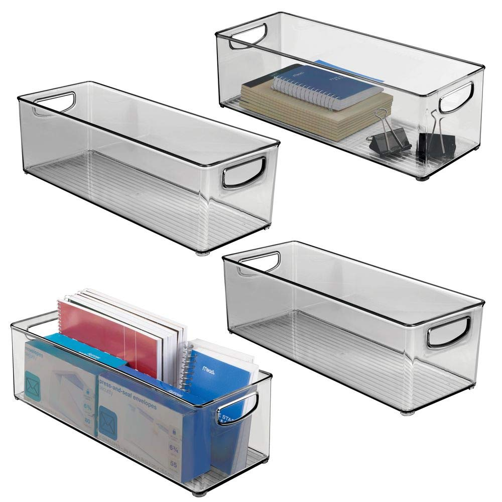 mDesign Large Stackable Plastic Storage Bin Container - Home Office Desk and Drawer Organizer Tote with Handles - Holds Gel Pens, Erasers, Tape, Pens, Pencils, Markers - 16'' Long, 4 Pack - Smoke Gray by mDesign