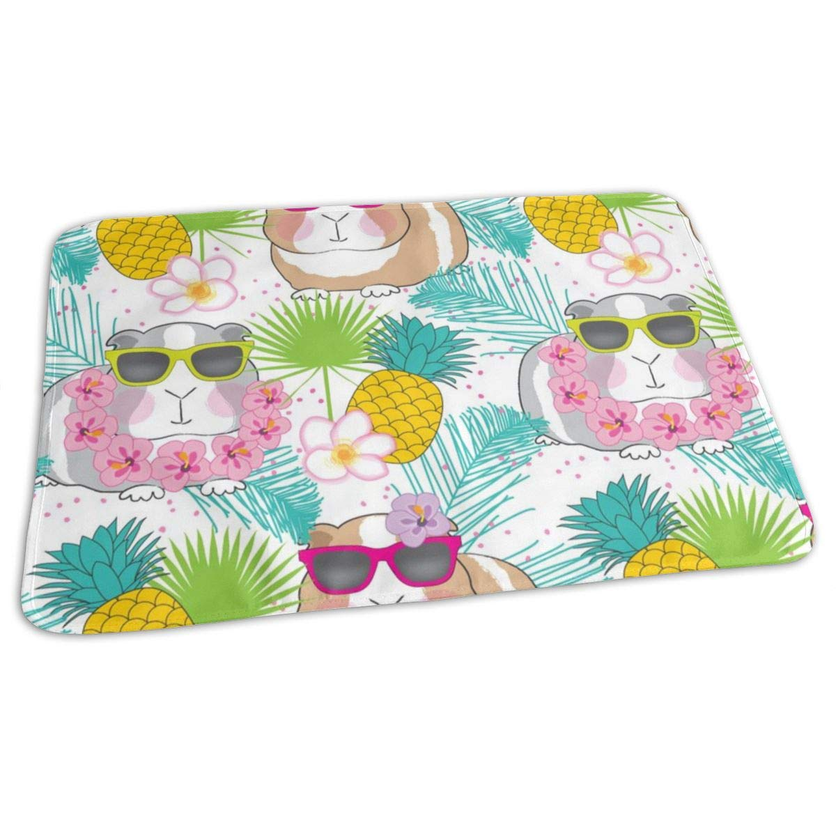 Tropical Guinea-pigs-on-white/_1045 Baby Reusable Diaper Changing Pad Portable Waterproof Urine Mat 27.5 x 19.7 Inch