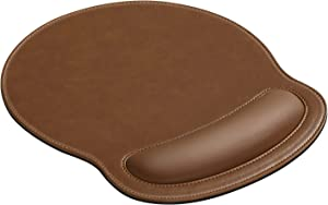 MoKo PU Leather Mouse Pad with Wrist Support, Ergonomic Raised Memory Foam, Non Slip PU Rubber Base [Pain Relief] for Office, Home, Computer, Laptop, Gamer, Brown