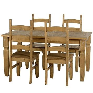 Corona - Ensemble de table et chaises de salle à manger en pin ...
