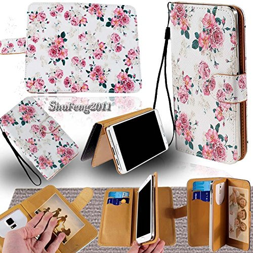 PU Leather Purse/Clutch/Pouch/Wallet Fits Apple Samsung LG Motorola etc. Universal Women's Cute Wristlet Strap Flip Case, Pink Rose/Floral Vintage - Medium. Fits the Models - Case Faceplate V3 Razr Cover