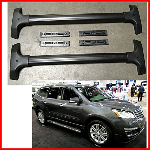Roof Rack Cross Bars for 09-15 Chevy Traverado Black Aluminum Luggage Carrier OE Style (Cross Bars Chevy Traverse)