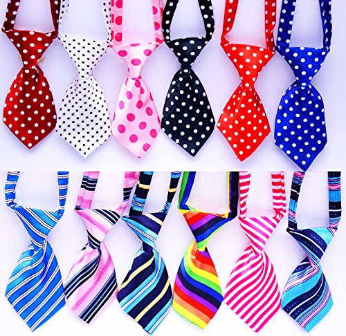 (Yagopet 12pcs/pack New Pet Dog Neckties Fashionable Cute stripes and Love Polka Dots Styles Dog Ties Adjustable Pet Grooming Products Dog Accessories Cute Gift)