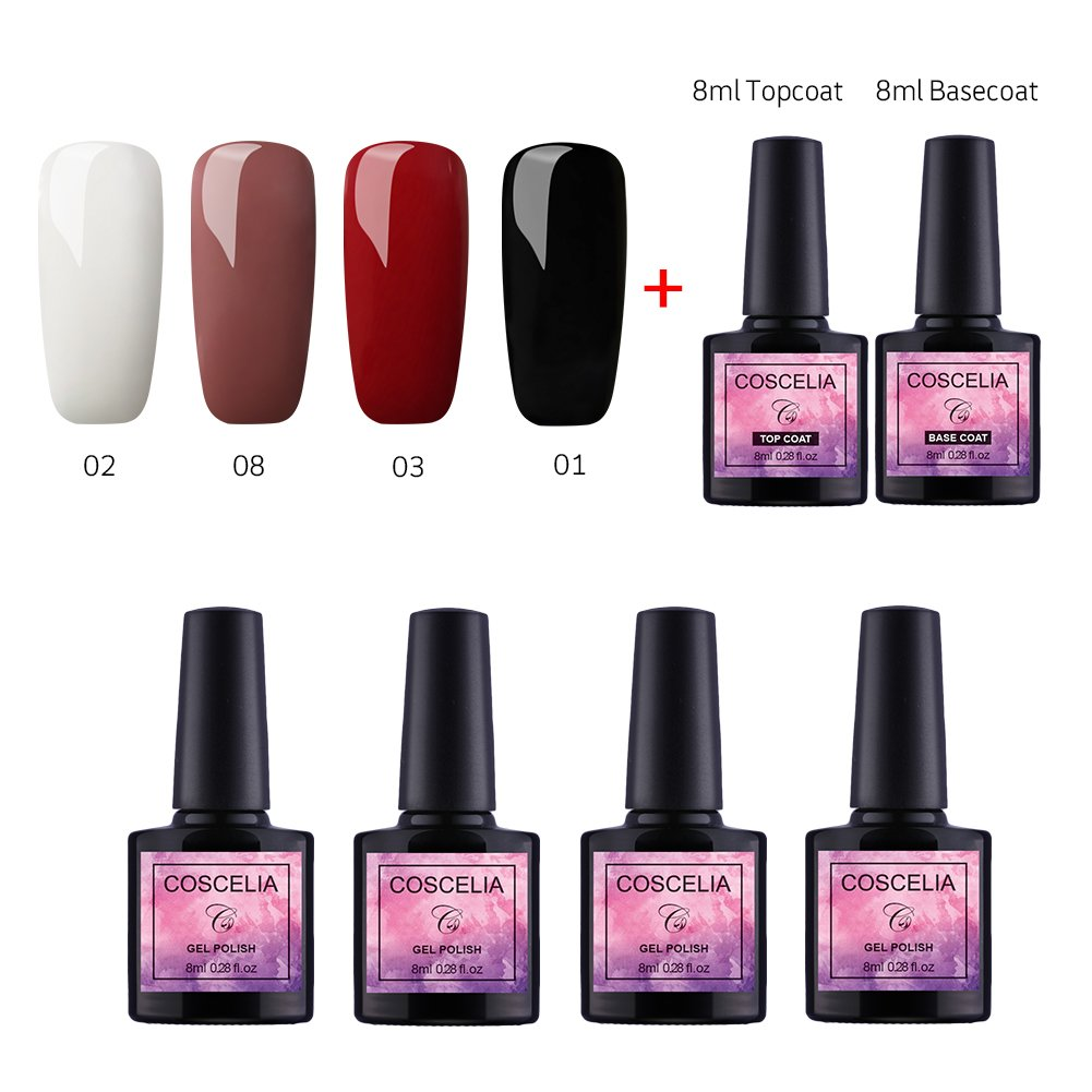 Vernis Gel Semi Permanent Gel UV Vernis à Ongles Soakoff Lot de 4pcs Gel Polish Kit Manucure Plus Top et Base Coat Pour Ongle 8ml Débutant Kit Couleurs Classique Saint-Acior