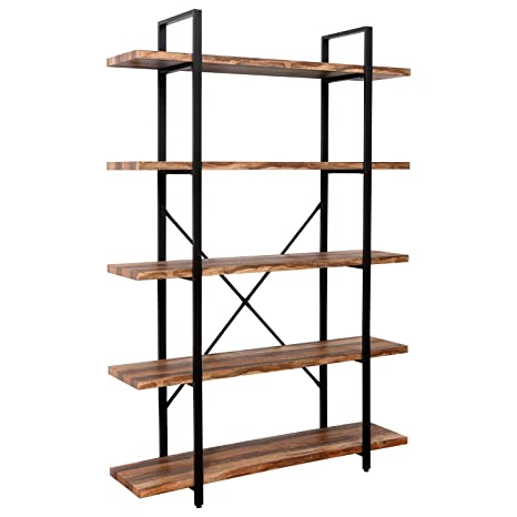 Excellent Ironck Bookshelf And Bookcase 5 Tier 130Lbs Shelf Load Capacity Industrial Bookshelves Home Office Furniture Wood And Metal Frame Interior Design Ideas Tzicisoteloinfo