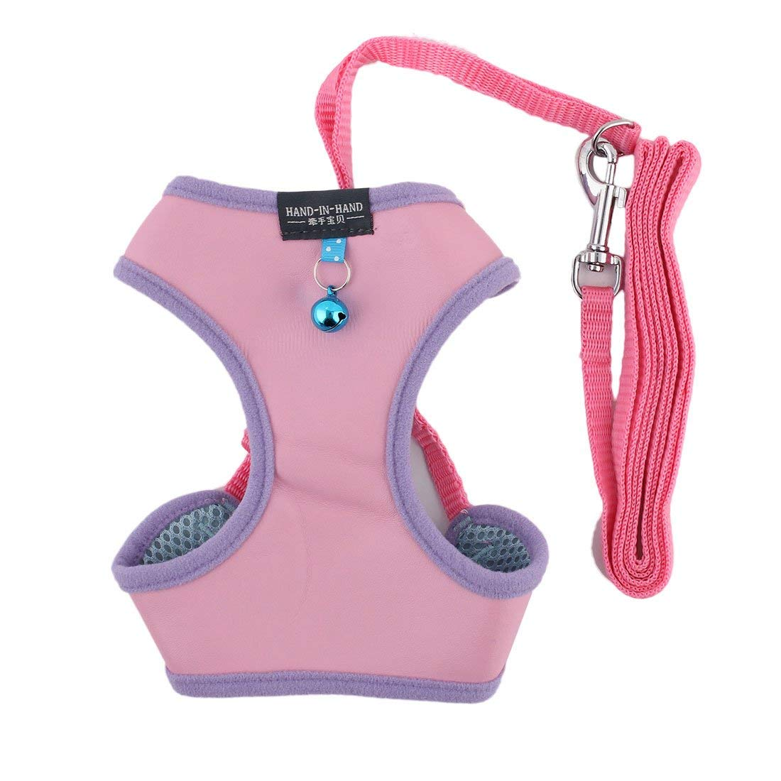 Faux Leather Breathable Dog Puppy Walking Harness Vest Leash Size S Light Pink