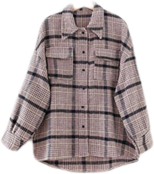 DAFREW Camisa de Mujer Camisa Suelta Camisa Fina Transpirable de Verano Camisa a Cuadros Fresca Camisa de Manga Larga (Color : Rosado, Tamaño : XXL): Amazon.es: Hogar