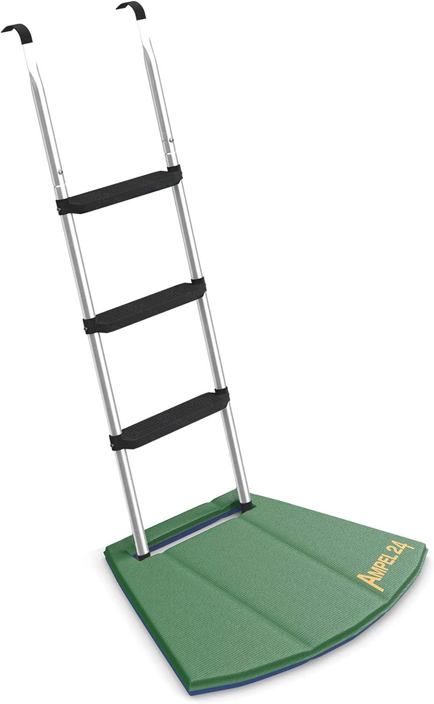Ampel 24 - Escalera para Camas elásticas Grandes con Alfombrilla de Suelo/ Escalera 110 cm, 3 escalones Anchas, Plata: Amazon.es: Jardín