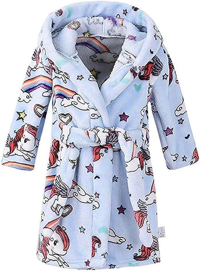 Aivtalk Unisex Kids Cute Pattern Flannel Bathrobe Hoodies Early Spring Sleepwear 4 Style