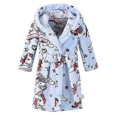 Teen Kids Toddler Baby Girls Boys Flannel Night-Gown Pajamas Cartoon  Rainbow Horse Bath Towel 24dcdac5a
