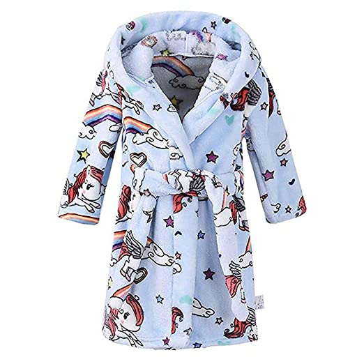 3859c67b1f Baby Boys Girls Horse Printed Hooded Robe Comfy Flannel Towel Bathrobes  Sleepwear Plush Nightgowns (2