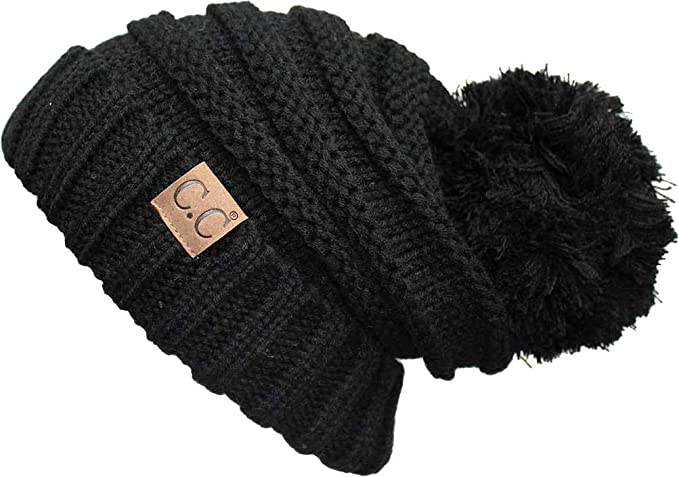 3e50cb4f861 H-6100POM-2-06 Oversized Slouchy POM Beanie - Black (2 Pack) at Amazon  Women s Clothing store