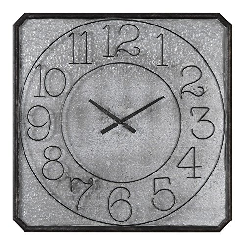 Uttermost 06436 Dominic Galvanized Metal Wall Clock (Hudson Metal Clock)