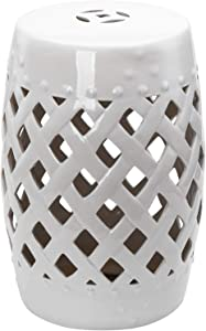 "Outsunny 13"" Heavy Duty Patio Sturdy Ceramic Garden Stool Decorative Garden Stool White"