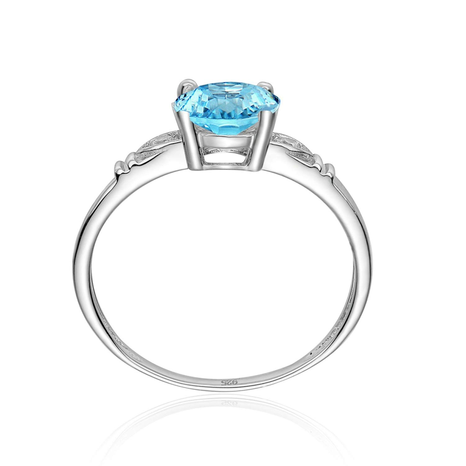 AMDXD Jewellery 925 Silver Engagement Ring for Women Blue Round Cut Topaz Round Rings