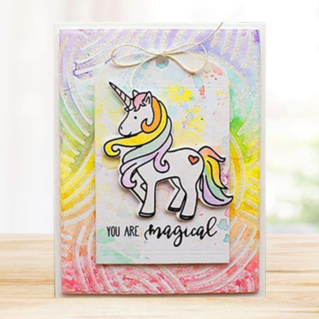 Decorazioni su Carta e Biglietti Unicorn2 Album di Ritagli FeiyUan Fustelle durevoli a Forma di Unicorno Fustella in Metallo Stencil per Fai da Te