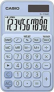 Calculadora Portátil Casio com Visor Amplo, 10 Dígitos e Alimentação Dupla, Casio, Azul Claro