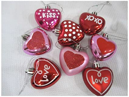 Amazon Com Valentines Day Pink Red Glitter Hearts 2 Ornaments