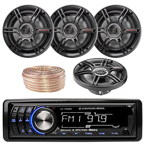Lightning Audio By Rockford Fosgate LA1500BT MP3 Bluetooth Stereo Receiver Player Bundle Combo With 4x Crunch CS653 6.5-Inch 3-Way Black Coaxial Speakers + Enrock 50 Foot 18 Gauge Speaker Wire
