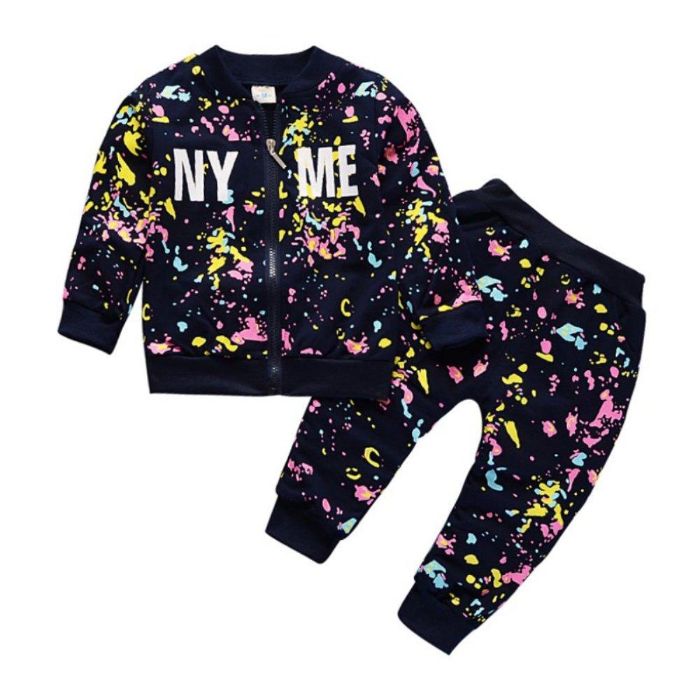 Completo bambino manica lunga con stampa maniche lunghe e pantaloni lunghi 2 pezzi Outfit Kid Streetwear: Amazon.es: Bebé