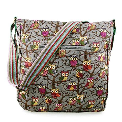 en fille Papillons Owl et Grey Motif toile pois fleurs pour Sac 4tqBd7xw4