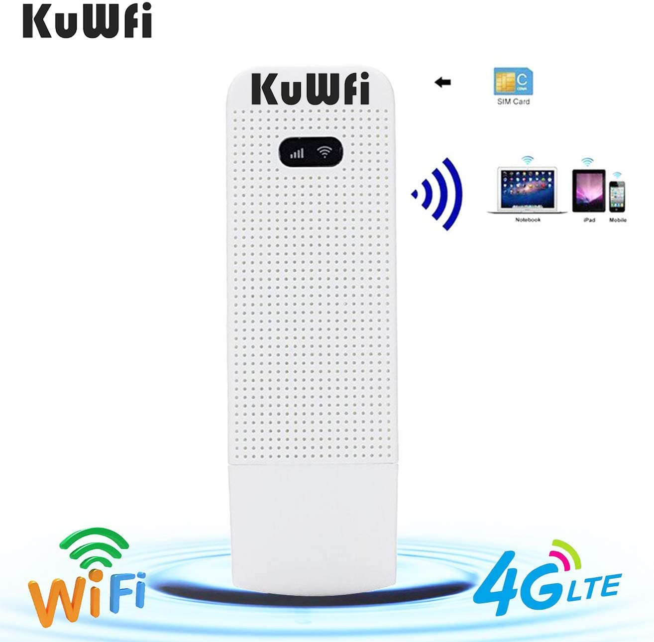 KuWFi 4G WiFi Modem LTE Mobile Hotspot USB Dongle Mini Router Support SIM Card 4G/3G +Wi-Fi Wireless Access Provide for Car or Bus (not Including SIM ...
