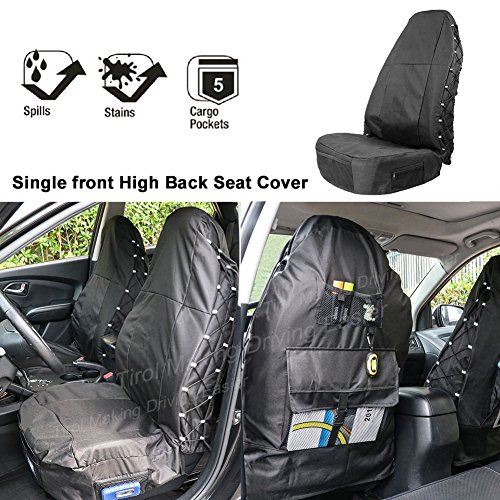 TIROL Waterproof Front Seat Protector for High Back Car Seat Universal Front Seat Cover with Multi-Pockets Organizer for Storage (Airbag Compatible) Black 1 (High Back Buckets Part)