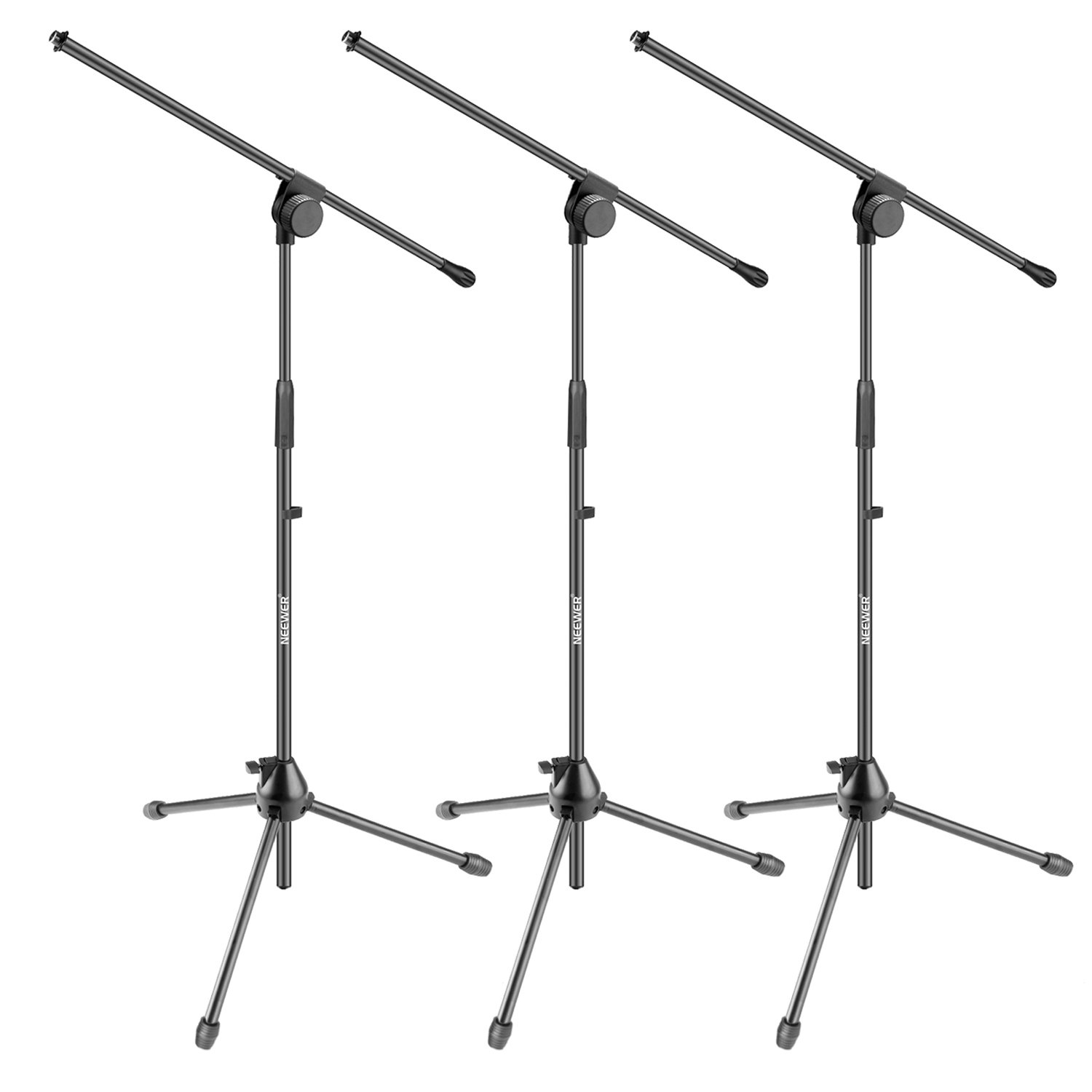 Neewer 3 Pieces Tripod Boom Floor Microphone Stands for Stage or Studio Use- Aluminum Alloy, Foldable and Rotatable, Adjustable Height Maximum 37.4 inches/95 centimeters (NW006-1) 90091421