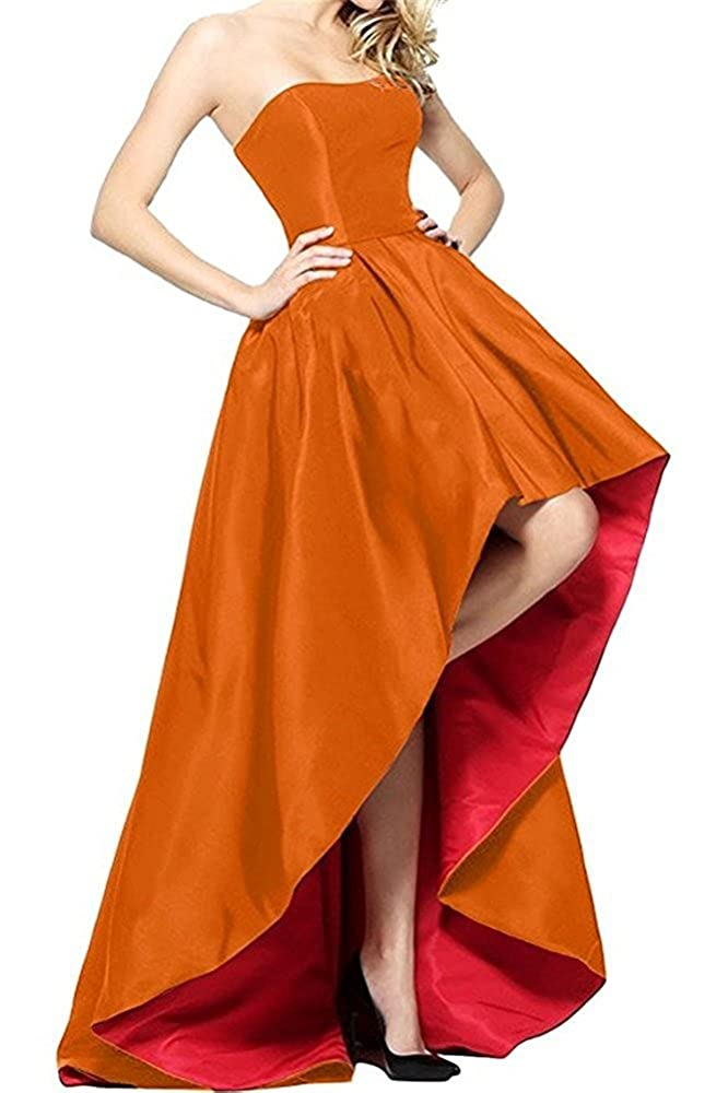 orange and Red Tutu Vivi Womens Strapless Prom Ball Gowns Satin Formal Evening Party Dresses High
