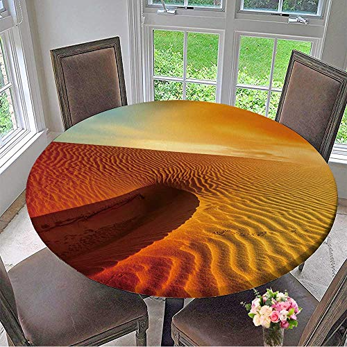Mikihome Elasticized Table Cover Sunset Over The Sahara Desert Machine Washable 35.5