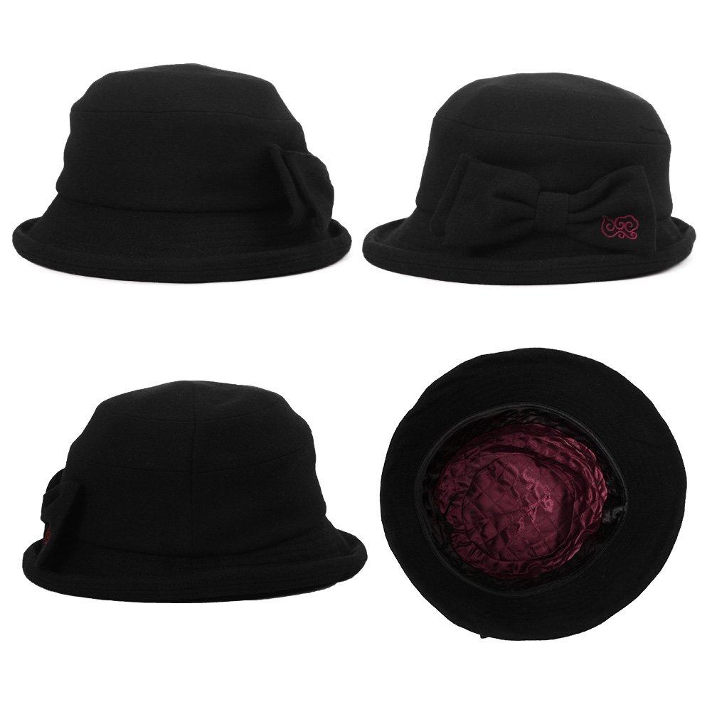 SIGGI Winter Damen Glokenhut Wolle warme Bucket Cloche Hut mit Schleife