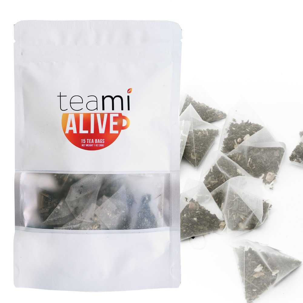 PREMIUM ENERGY GREEN TEA with Caffeine & Ginger Honey - Loose Leaf ALIVE Blend by TeaMi Blends - Best for Increased Stamina and Boosting Mental Alertness - with 100% All-Natural Lemongrass. Simple.