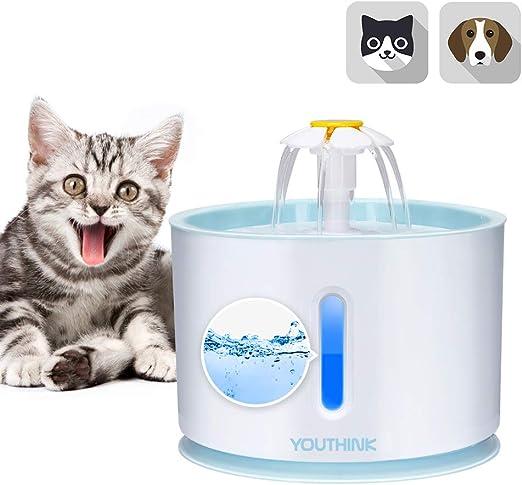 YOUTHINK Bebedero Gatos, 2.4L Fuente de Agua del Gato Ultra ...