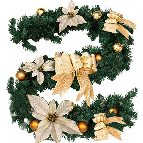 Fannybuy 70.8inch Christmas Garland Decorations Green Gold Red Artificial Pine Wreath Garland with Pip Berry for Mantelpiece Door Decoration Indoors Outdoors (gold) (Staircase Garland Christmas)