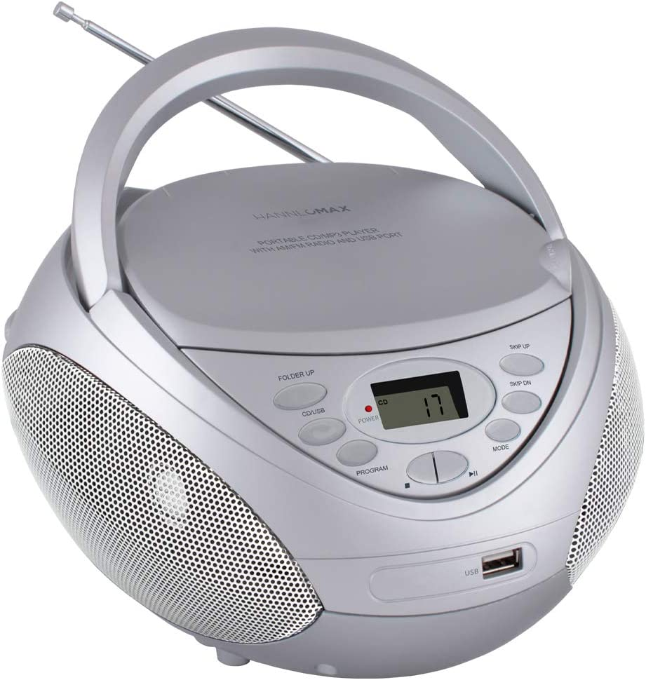 HANNLOMAX HX-326CD Portable CD/MP3 Boombox, AM/FM Radio, USB Port for MP3 Playback, Aux-in, LCD Display, AC/DC Dual Power Source (Silver)