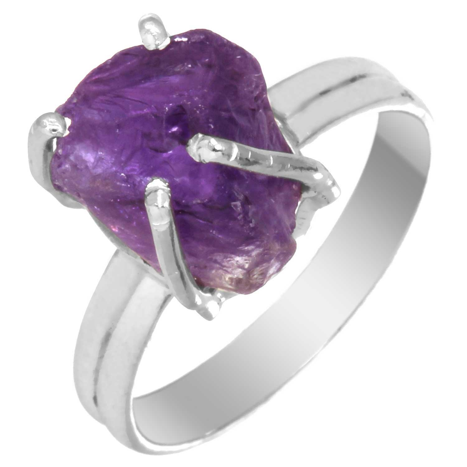 Solid 925 Sterling Silver Jewelry Natural Amethyst Rough Gemstone Ring